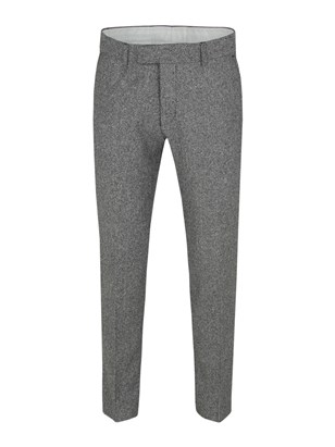 Black/White Plain Front Herringbone Trouser