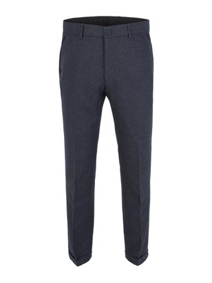 Navy Donegal Plain Front Trouser