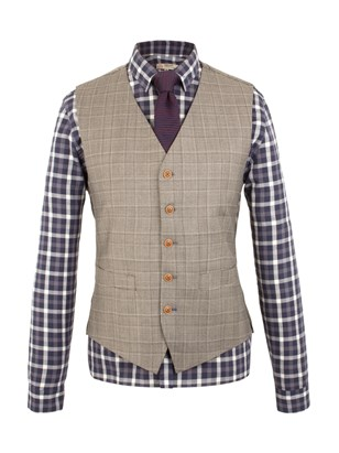 Taupe Check Waistcoat