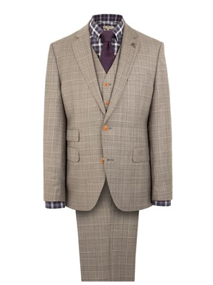 Taupe Check Slim Fit Suit