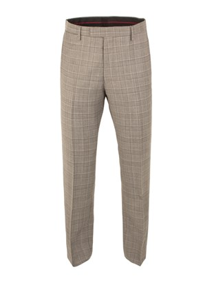 Taupe Check Suit Trousers