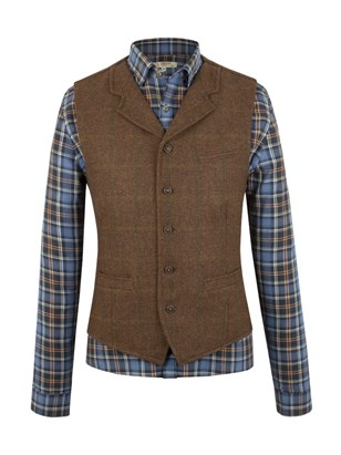 Rust check waistcoat with collar
