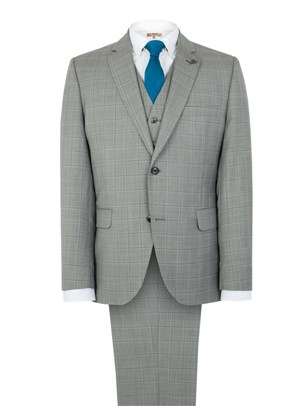 Taupe Check Tailored Fit Suit