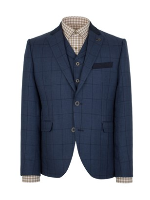 Navy Check Slim Fit Jacket