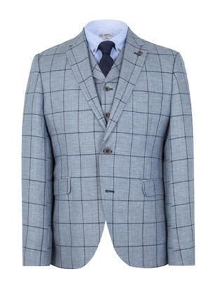 Pale Blue Check Slim Fit Jacket