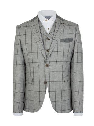Silver Grey Check Slim Fit Jacket