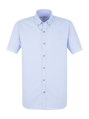 Pale Blue Cotton Short Sleeve Shirt