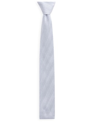 Silver Diagonal Knitted Tie