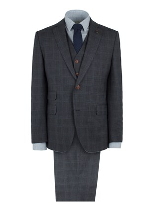 Charcoal Check Wool Blend Suit