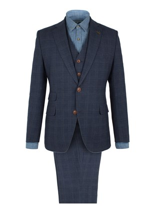 Blue Check Wool Blend Suit
