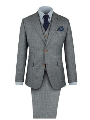 Grey With Lime Check Suit
