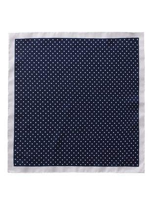 Navy Dot Silk Hankie