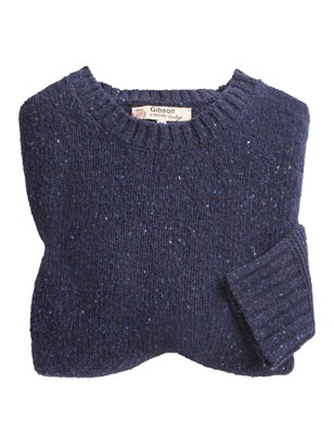 Gibson Chunky Crew Neck Donegal Sweater Blue