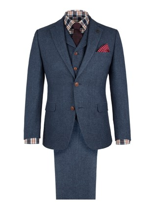 Blue Herringbone Fleck Suit