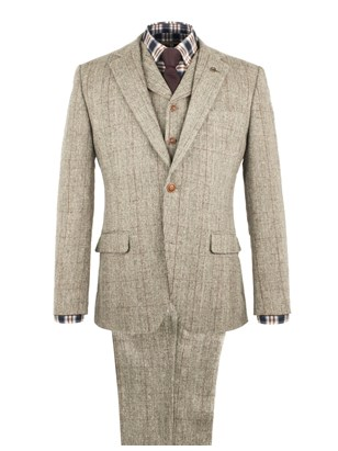 Taupe with Burgundy Check Suit