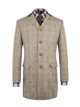 TAUPE WITH BURGUNDY CHECK LONG JACKET
