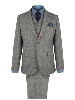 Grey With Blue Check Suit