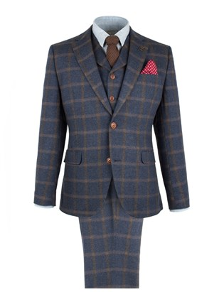 Navy And Tan Check Suit