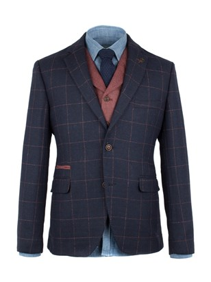 Navy Windowpane Check Jacket