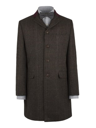 Brown Check Long Jacket