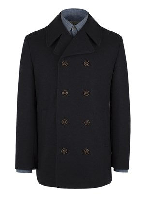 Navy Double Breasted Melton Coat
