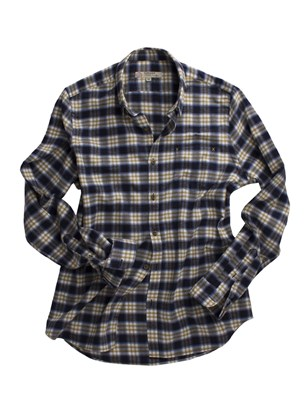 Navy And Gold Check Long Sleeved Shirt