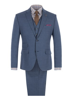 Blue Melange Suit Jacket With Matching Trousers
