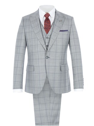 Grey Tailored Jacket With Bold Purple Check