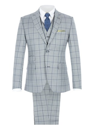 Grey Tailored Suit with Bold Blue Check