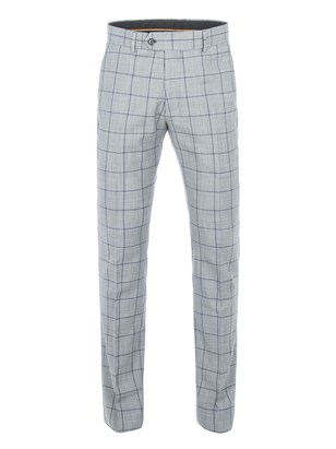 Grey Tailored Trousers With Bold Blue Check