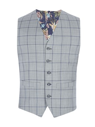 Grey Waistcoat With Bold Blue Check