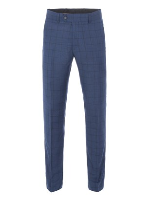 Cobalt Tailored Trousers With Dark Check