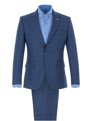 Cobalt Blue Tailored Jacket With Dark Check