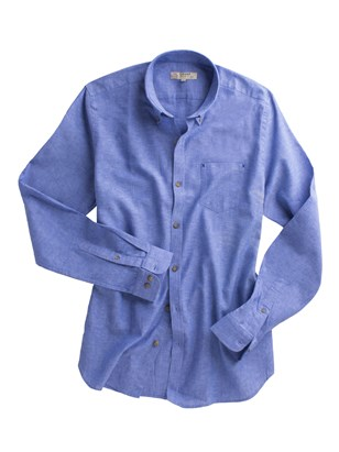 Dark Blue Linen Blend Shirt