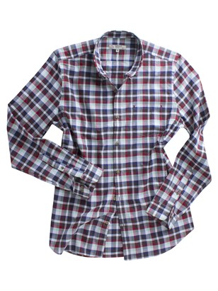 Brown Green And Navy Check Shirt