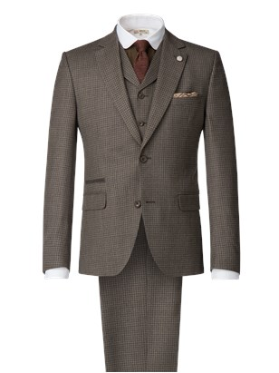 Taupe Muted Check Suit