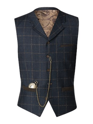 Dark Blue mini check with tan coloured over check Waistcoat