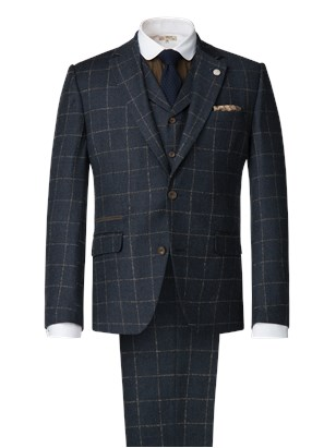 Dark Blue Mini Check Suit