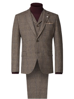 Fawn Prince of Wales Check Suit