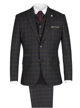 Green and Red Soft Check Suit