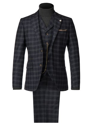 Blue and Orange Soft Check Suit
