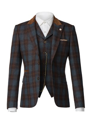 Blue teal and tan check jacket