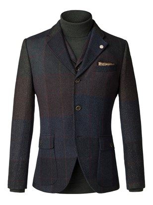 Blue and grey wool large check jacket