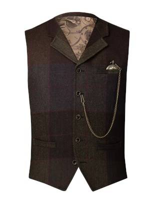 Green and brown wool large check waistcoat