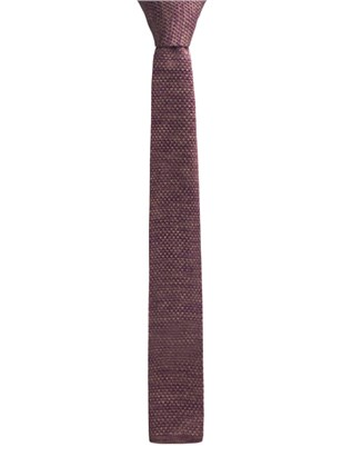 Burgundy and Camel melange knitted tie