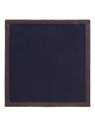 Navy with Brown Trim Knitted Hankie