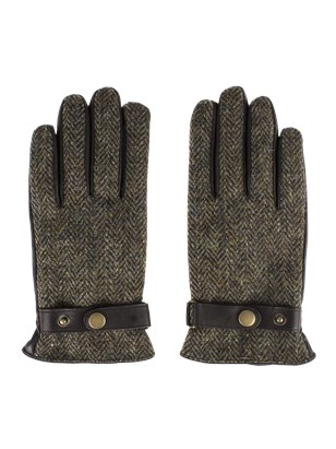 Brown Harris Tweed and Black Leather Gloves