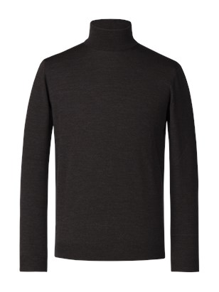 Bitter Chocolate Merino Polo Neck Jumper