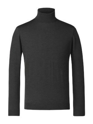 Forest Green Merino Polo Neck Jumper