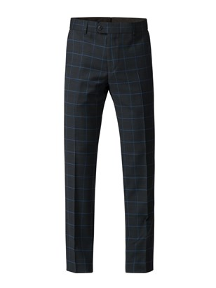 Navy Trousers With Blue Check
